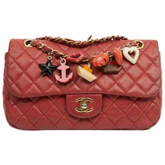 Timeless Chanel Limited Edition Quilted Red Bag With Charms