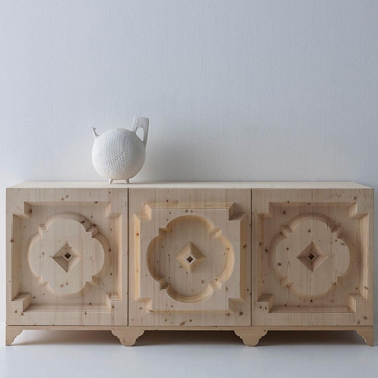 Modern Timeless Embossed Wood Sideboard by Sebastiano Bottos, Italia For Sale