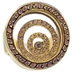 Timeless Jewellery Fashion White Diamond Yellow 18 Karat Gold Karat Spiral Ring