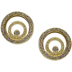 Timeless Jewellery Fashion White Diamond Yellow Gold 18 Karat Spiral Earrings
