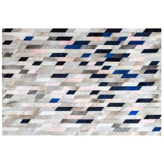 Timeless Retro Glam Art Hide Astila Rug Blue Cowhide Rug