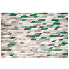 Timeless Retro Glam Art Hide Astila Rug Teal and Emerald Cowhide Rug