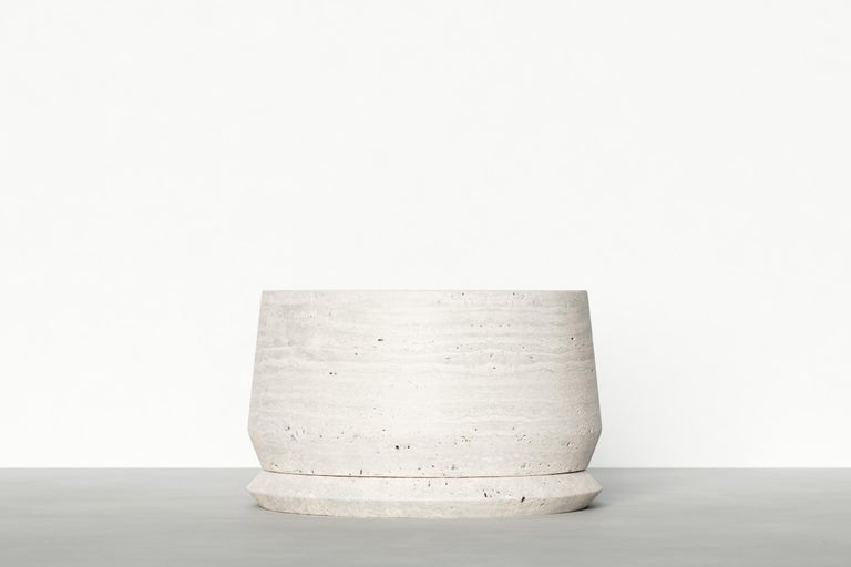 Travertine Timeless Side Table I by Maria Osminina, Limited Edition For Sale