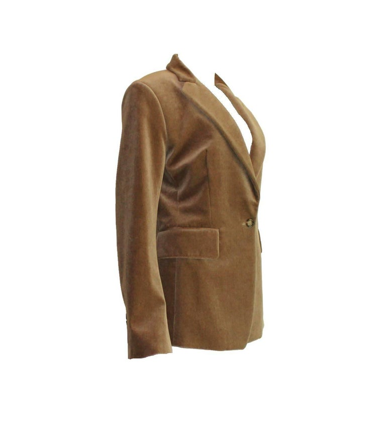 Beautiful YSL Yves Saint Laurent Blazer Riding Jacket Style Softest needlecord Fully lined with finest silk YSL logo stitched into lining Button engraved discreetly with