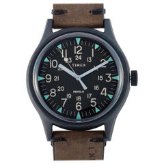 Timex MK1 Black Stainless Steel Brown Leather Watch TW2R96900