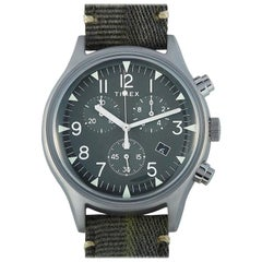 Timex MK1 Steel Chronograph Olive Green Fabric Strap Watch TW2R68600