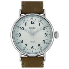 Timex Standard Olive Green Leather Watch TW2T20100