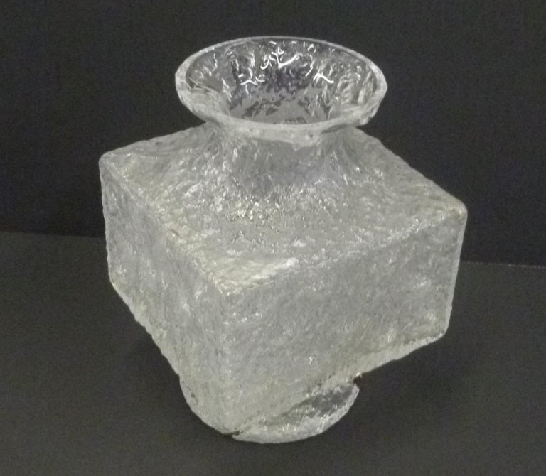 From Timo Sarpaneva (Finland 1926-2006) a Mid-Century Modern large Brutalist Crassus vase by Iittala, Finland, 1960s. The collection consisted of mold poured lead- glass vases in different sizes and shapes with rough exterior. Very good condition.