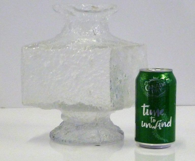 Finnish Timo Sarpaneva Brutalist Modern Crassus Textured Glass Vase Iittala Finland 1960 For Sale