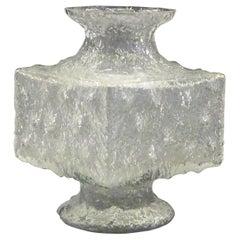 Timo Sarpaneva Brutalist Modern Crassus Textured Glass Vase Iittala Finland 1960
