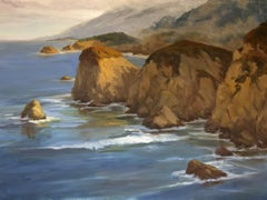 Coastal Calm Under Breaking Skies, Painting, Oil on Canvas