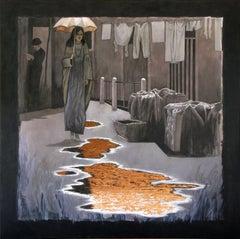 Copper Rain, Painting, Acrylic on Canvas