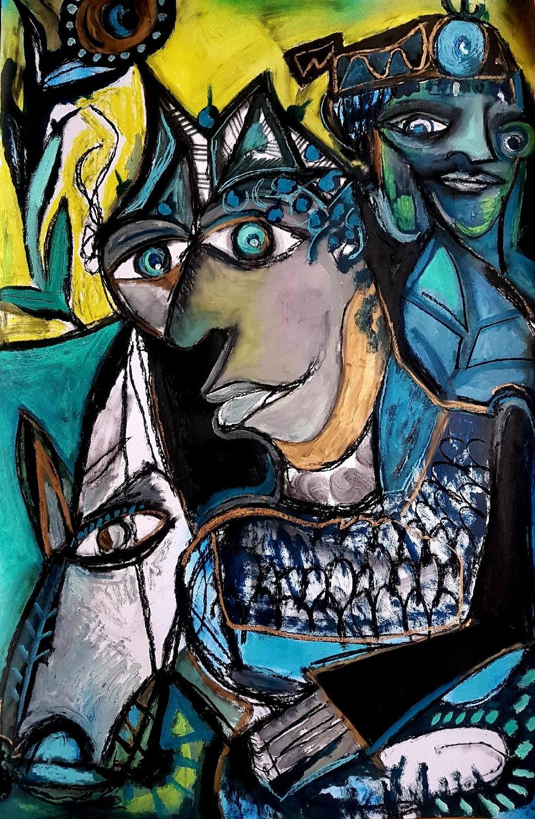 The blue rider -Timothy Archer, 21st Century, Contemporary painting