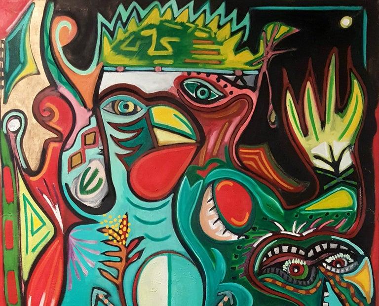 Totem bird of abundance -Timothy Archer, 21st Century, Contemporary painting - Black Portrait Painting by Timothy Archer
