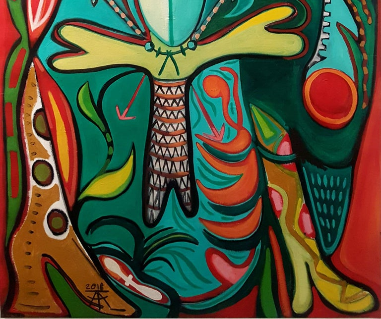 Totem bird of abundance -Timothy Archer, 21st Century, Contemporary painting For Sale 1