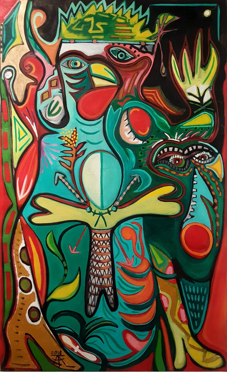 Totem bird of abundance -Timothy Archer, 21st Century, Contemporary painting - Painting by Timothy Archer