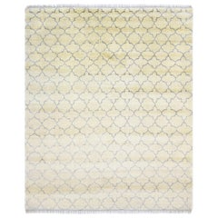 Timothy, Bohemian Shaggy Moroccan Hand Knotted Area Rug, Parchment