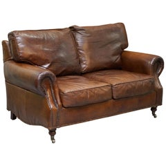 Timothy Oulton Balmoral Halo Vintage Brown Leather Two Sofa Part Large Suite