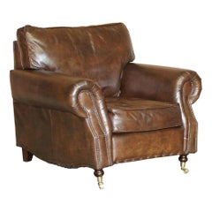 Timothy Oulton Balmoral Heritage Brown Leather Club Armchair with Brass Castors