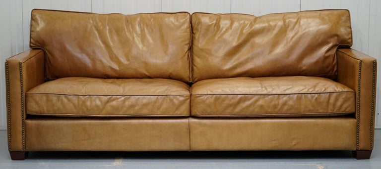 Timothy Oulton Halo Viscount William Three-Seat Brown Leather Sofa ...