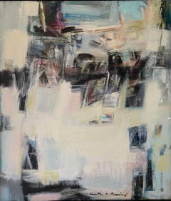 Abstract Expression with Blue, white and black 68 X 78
