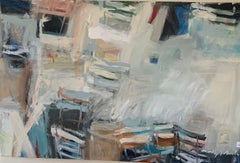 Abstract with French Garden Chairs - white with blue 62 x 40