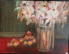 Floral with Apples - White, Green and Red 30 X 40