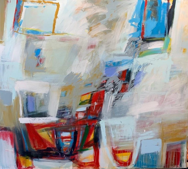 """Timothy Sanchez Abstract Painting - Free Fall Abstract Expressionism  Blue and Red on White 84"""" X 88"""""""
