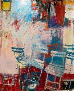 Garden Party II - White, bright blue and dark red 90 X 80