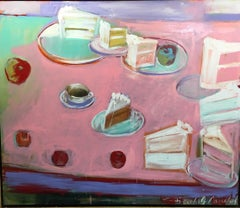 Happy Birthday - pastels on pink 72 X 60