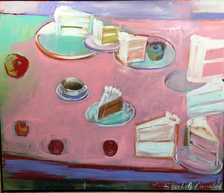 Timothy Sanchez Abstract Painting - Happy Birthday - pastels on pink 72 X 60