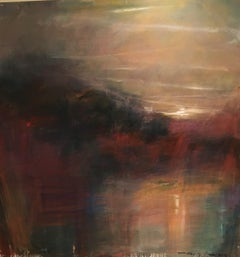 "Moonlight Moment I- Landscape Sunset reflected on water 60"" X 60"""