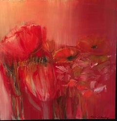 Number 896 Armistice- shades of Red 40 X 40