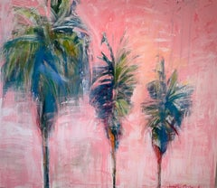 Posh Palms Large Canvas Green Blue Palms on Pink Sky