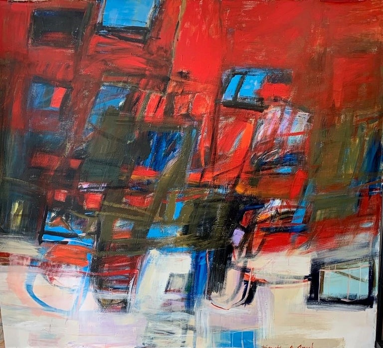 """Red Spikes with Blue Abstract Expressionist 84 X 90"""" In the luminous acrylics and collages of Timothy J. Sanchez, a profound mastery of color and high drama vie with a subtly puckish sense of humor and joy. This is the work of a mature artist able"""