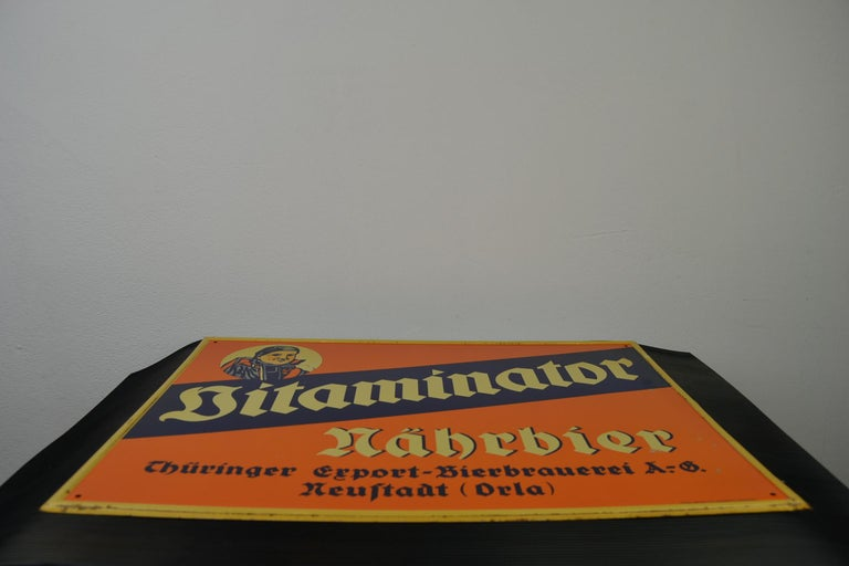 Tin Advertising Beer Sign, Germany, 1940s For Sale 14