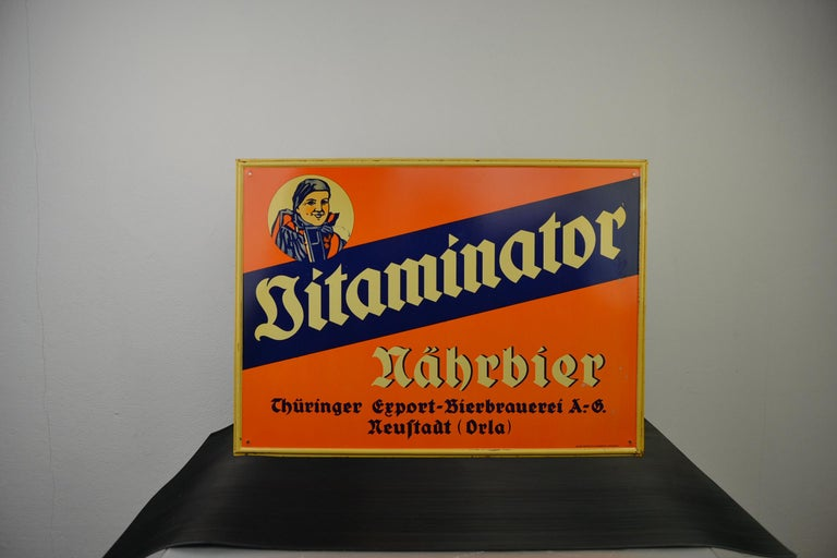Tin Advertising Beer Sign, Germany, 1940s For Sale 15
