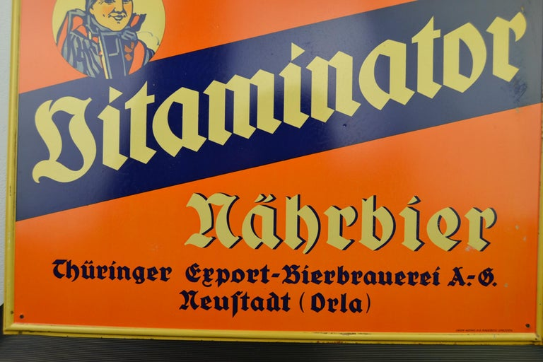 Art Deco Tin Advertising Beer Sign, Germany, 1940s For Sale