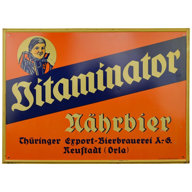 Tin Advertising Beer Sign, Germany, 1940s For Sale