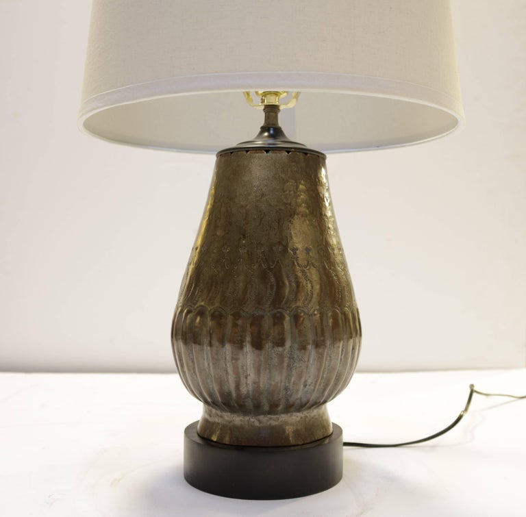 """This pair of tin-plated copper table lamps have a decorative etching and stained black wood base. Brand new beige fabric shades measure 12.0"""" in diameter - base of the lamps is 5.5"""" diameter. Lamps measure 13.5"""" H to socket or 23.0"""" H to top of"""