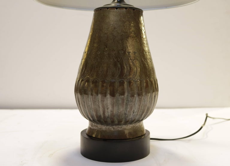 Mid-Century Modern Tin Plated Copper Lamps with Etching, a Pair For Sale