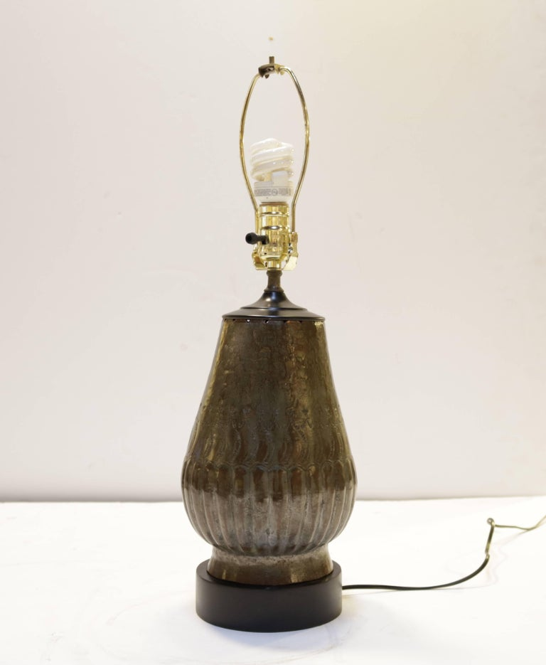 Tin Plated Copper Lamps with Etching, a Pair In Excellent Condition For Sale In Culver City, CA