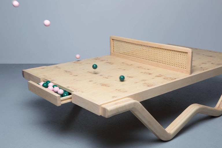 Tina Burner Ping Pong Table, Maple Handcraft Glow in the Dark Coffee Table 5