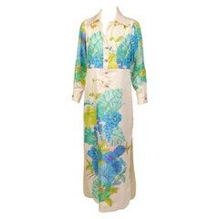 Tina Leser Colorful Tropical Print Silk Dress