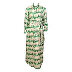 Tina Leser Original Green and Cream Nautical Silk Print Dress