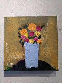 Oil Still-life on Canvas - Light Blue Vase