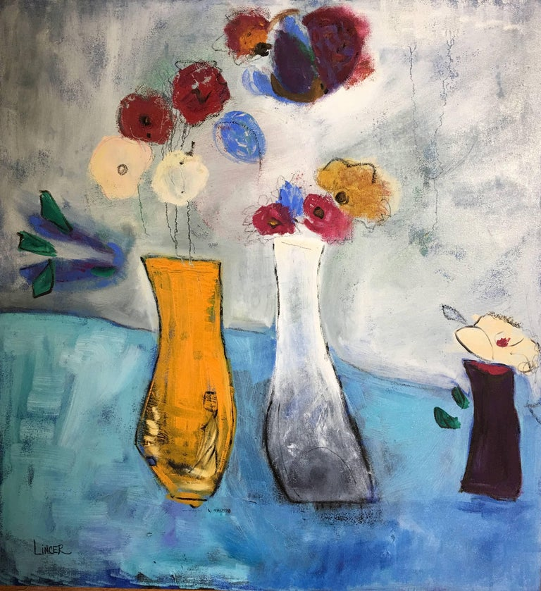 Tina Lincer Three Vases Painting For Sale At 1stdibs