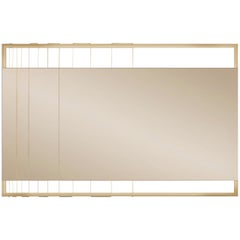 Tinted Contemporary Mirror on a Gold Metal Frame with Brass Wire