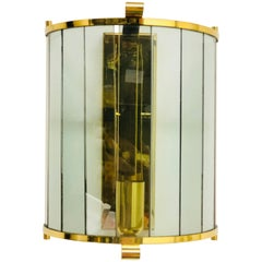 Tinted Glass Panes Wall Sconce Lamp Brass Vintage, German, 1960s