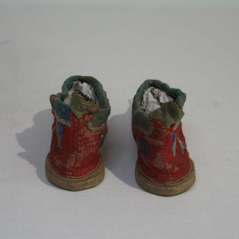 Tiny 19th Century Chinese Embroidered Women's Shoes 3